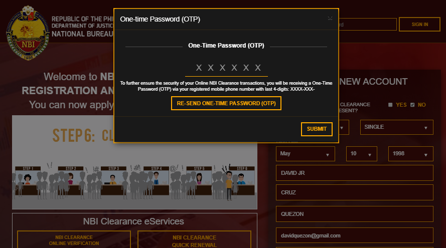 NBI CLEARANCE REGISTRATION AND APPLICATION - One-time Password (OTP)  NBI CLEARANCE ONLINE REGISTRATION | NBI CLEARANCE NBI CLEARANCE REGISTRATION AND APPLICATION One time Password OTP