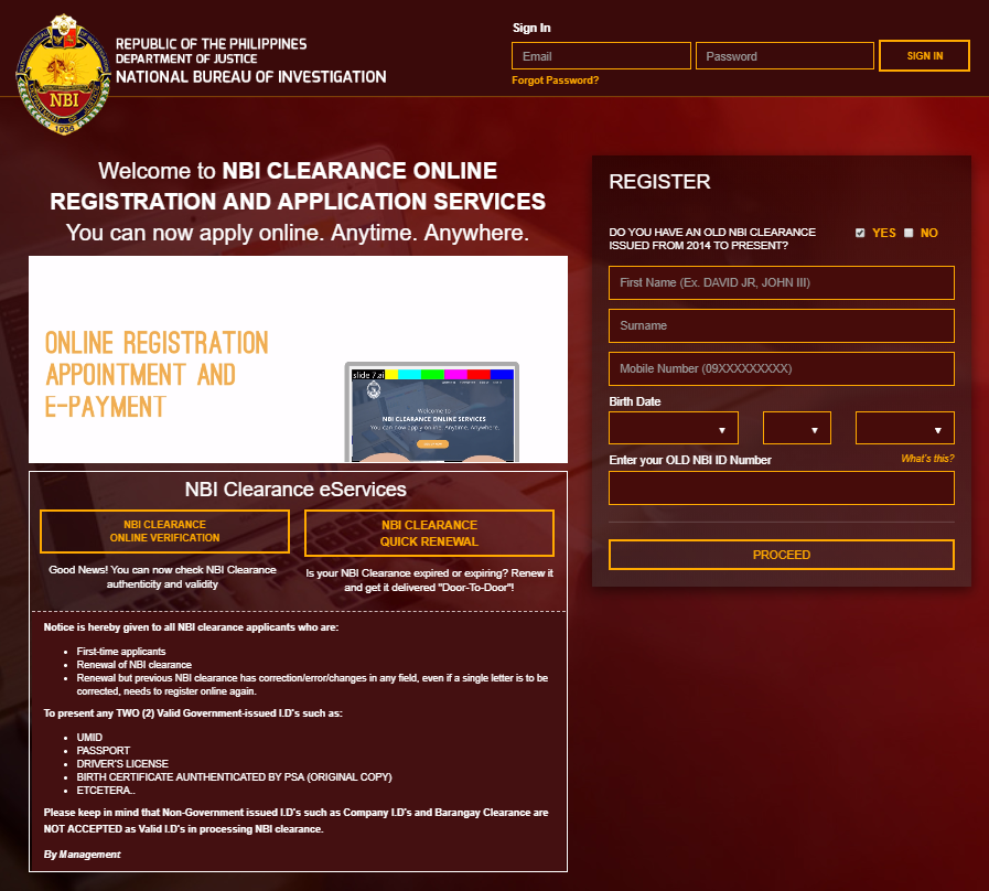 NBI CLEARANCE REQUIREMENTS FOR ONLINE REGISTRATION AND APPLICATION nbi clearance requirements NBI CLEARANCE REQUIREMENTS (COMPLETE LIST) NBI CLEARANCE REQUIREMENTS FOR ONLINE REGISTRATION AND APPLICATION