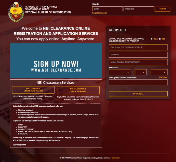 NBI CLEARANCE ONLINE REGISTRATION AND APPLICATION  NBI CLEARANCE ONLINE REGISTRATION | NBI CLEARANCE NBI Clearance Home Page