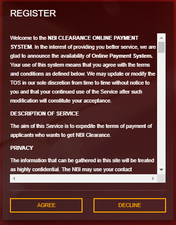 NBI CLEARANCE - Registration terms of service  NBI CLEARANCE ONLINE REGISTRATION | NBI CLEARANCE Screenshot 3