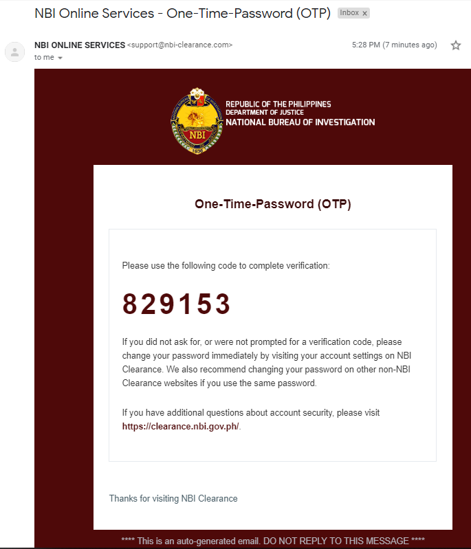 NBI CLEARANCE ONLINE REGISTRATION AND APPLICATION - One-time Password (OTP) Email  NBI CLEARANCE ONLINE REGISTRATION | NBI CLEARANCE Screenshot 6