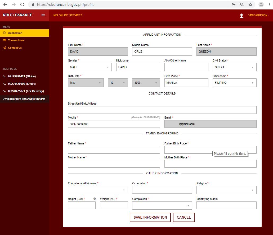 NBI CLEARANCE REGISTRATION AND APPLICATION - APPLICATION FORM  NBI CLEARANCE ONLINE REGISTRATION | NBI CLEARANCE Screenshot 8