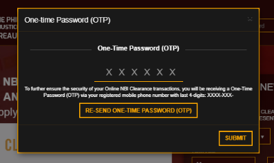 ONE TIME PASSWORD FOR NBI CLEARANCE ONLINE nbi clearance guide for new applicant NBI CLEARANCE GUIDE FOR NEW APPLICANT ONLINE ONE TIME PASSWORD FOR NBI CLEARANCE ONLINE