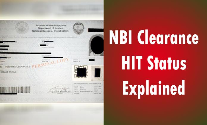 NBI Clearance HIT Status explained